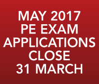 PE Exam Applications close 31 March 2017