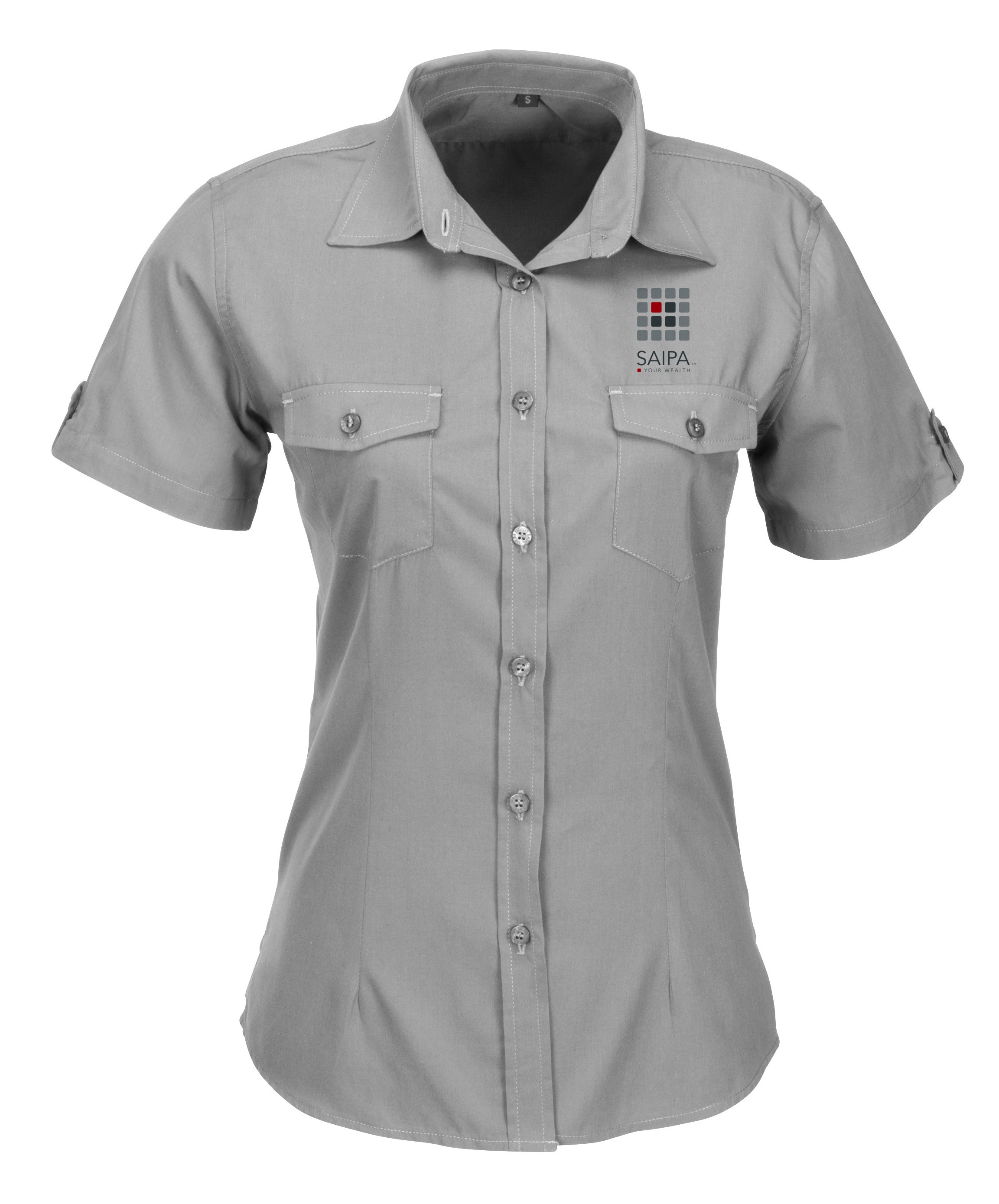 Shirt Ladies Short Sleeve Grey Saipa