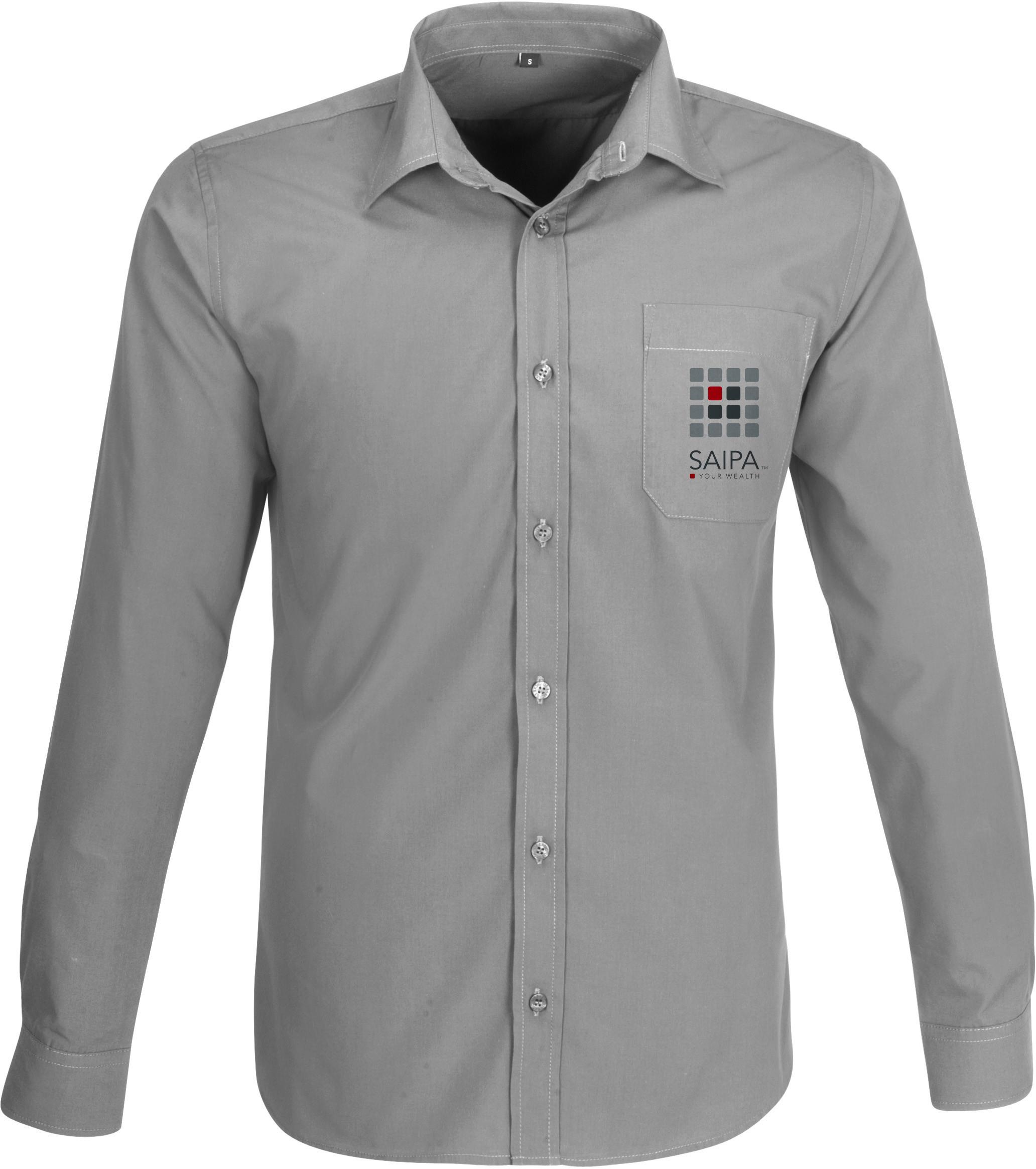 Shirt mens long sleeve grey saipa for Grey long sleeve shirts